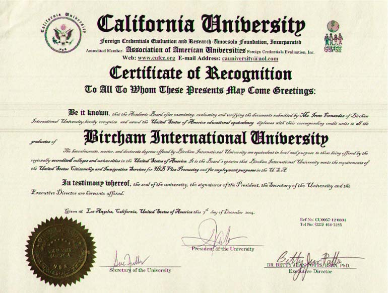 CUFCE - California University Foreign Credentials Evaluation (USA)