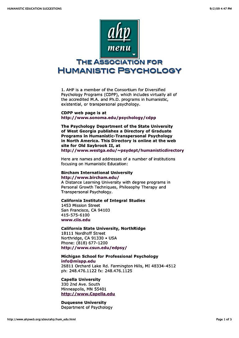 AHP - Association for Humanistic Psychology