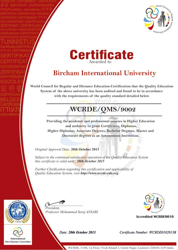 WCRDE – World Council for Regular and Distance Education