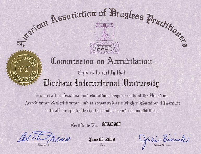 Bircham University AADP - American Association of Drugless Practitioners