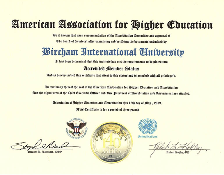 Bircham University AAHEA - American Association for Higher Education and Accreditation