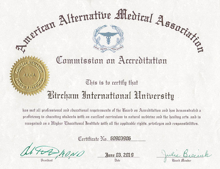 Bircham University AAMA - American Alternative Medical Association
