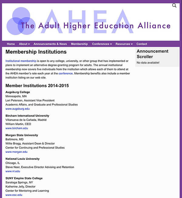 Bircham University AHEA - Adult Higher Education Alliance