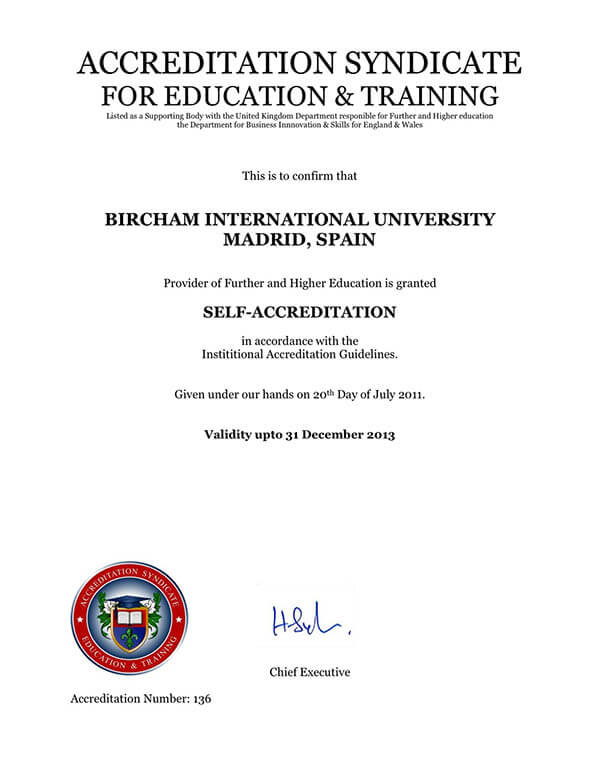 Bircham University ASET - Accreditation Syndicate for Education & Training