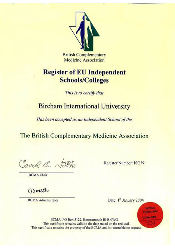 Bircham University BCMA - The British Complementary Medicine Association