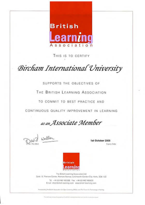 Bircham University BLA - The British Learning Association