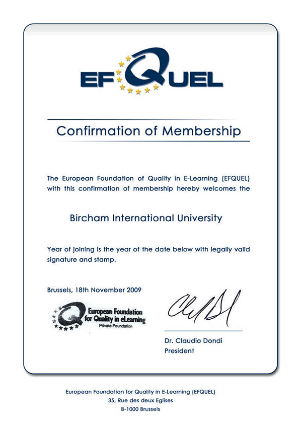 Bircham University EFQUEL - European Foundation for Quality in eLearning