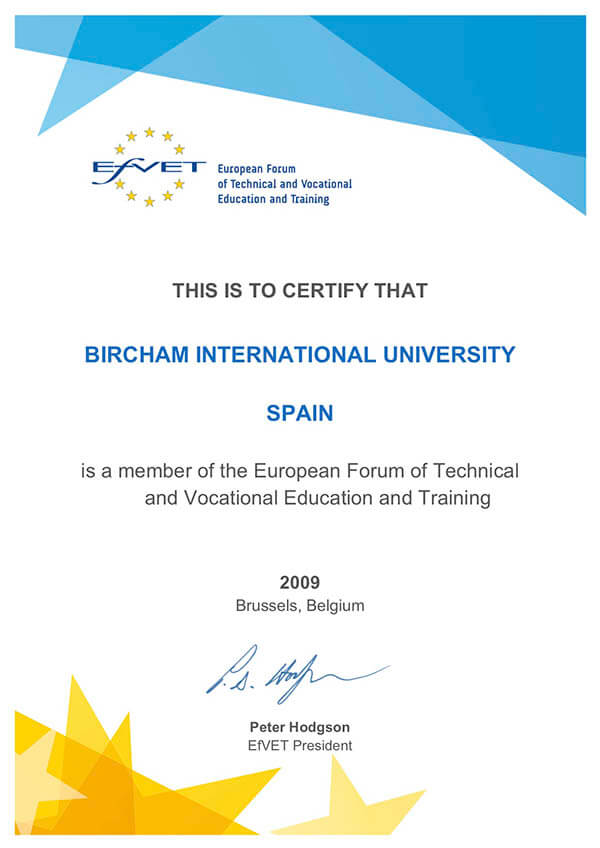 Bircham University EFVET - European Forum of Technical and Vocational Education and Training