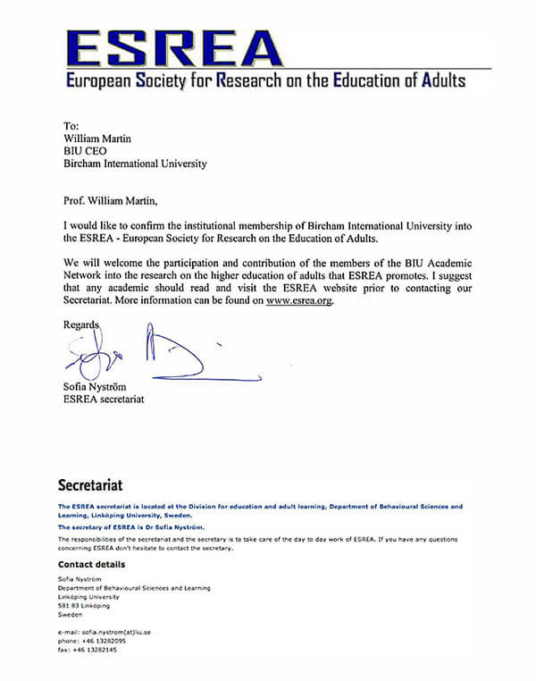 Bircham University ESREA - European Society for Research on the Education of Adults
