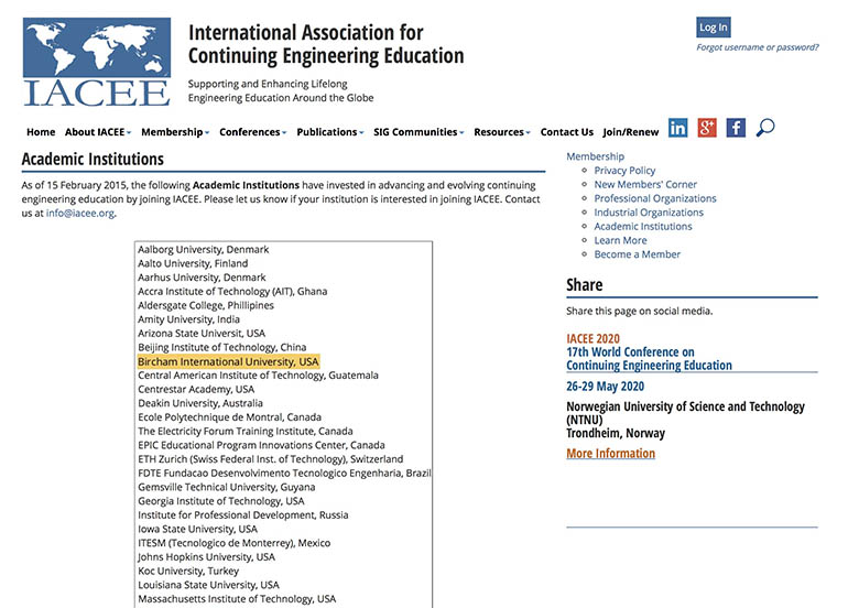 Bircham University IACEE - International Association for Continuing Engineering Education