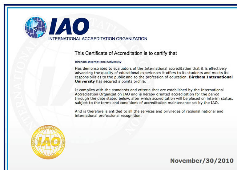 Bircham University IAO - International Accreditation Organization