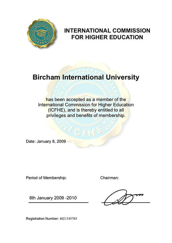 Bircham University ICFHE - International Commission for Higher Education