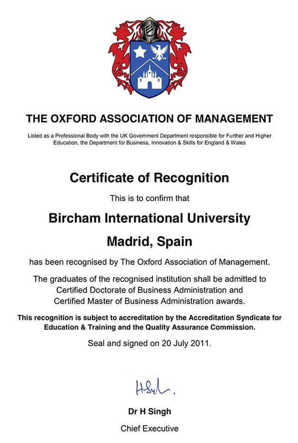 Bircham University OAM - The Oxford Association of Managers