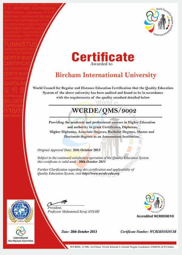 Bircham University WCRDE - World Council for Regular and Distance Education